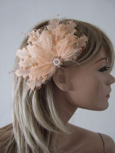 "Peach Fascinator in Curled Goose Nagoire + Ostrich Feathers + Crystals Bridal Clip ""Vera"""